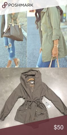 🍃Olive Green Hooded Utility Jacket Soo cute and in style! Size Small and never worn. New With Tags!! No flaws, just perfect! Second photo is of actual jacket. Double Zero Jackets & Coats Utility Jackets