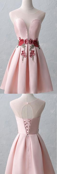 Short Prom Dresses, Lace Prom Dresses, Pink Prom Dresses, Prom Dresses Short, Short Pink Prom Dresses, Pink Homecoming Dresses, Homecoming Dresses Short, Short Homecoming Dresses, Pink Lace dresses, Lace Up Homecoming Dresses, Pleated Homecoming Dresses, Round Prom Dresses, Sleeveless Homecoming Dresses