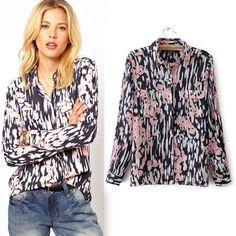 2014 spring and summer fashion casual women printed long-sleeved collar shirt, chiffon shirt women free shipping $18.99 http://www.aliexpress.com/store/1084425