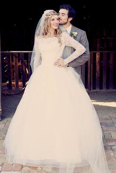 Modest Wedding Dress with boat neck and long sleeves