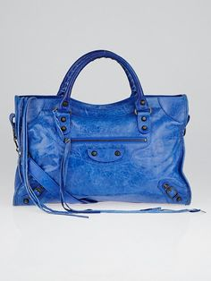 Balenciaga, Lambskin Leather Motorcycle City Bag, Bleu de France