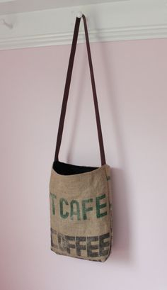 Upcylced Coffee Sack Bag  Crossbody Tote  Cafe  by MaidenJane, $30.00