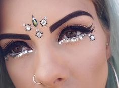 Winged liner and embellishments.