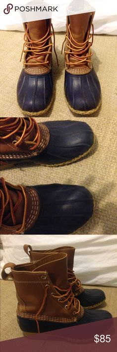 L.L. Bean bean boots Signs of some wear on front tongue and back of ankle. They are the navy ones. I got these awhile ago so I don't exactly remember what size they are. I'm a 7.5 and they are a little big on me. L.L. Bean Shoes Winter & Rain Boots