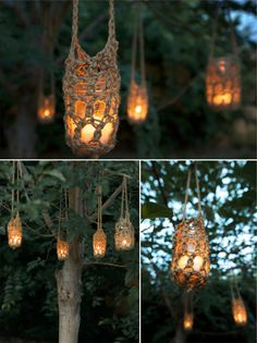Crochet rope lights. Beautiful, natural, warm ...party!!  Inspiration only....use bag pattern extending handle