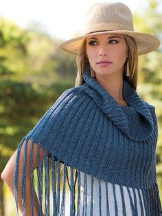 Knitting Pattern for On the Fringes Capelet Poncho - Easy short poncho features a cowl neck and fringe