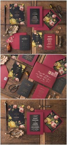 Vintage Burgundy and Black Glitter Wedding Invitations 03Gvinz