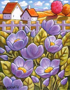 Purple Flowers Original Painting Floral Country Garden