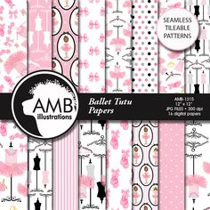 16 beautiful Ballet theme digital papers in pinks and black. Tutus floral embellishments, hangers and clothes they are just the elements you will need for that special ballet scrapbooking ,invite or collage project.