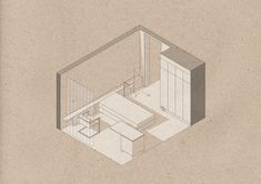 """plusarchitekt: """"_LONDON BEDROOM REFURBISHMENT - Milo Ayden De Luca """"Located in London, this modest bedroom refurbishment marries the existing, conventional structure with a Miesian approach to spatial configuration. The floor plan is orientated. Architecture Collage, Architecture Graphics, Architecture Visualization, Architecture Drawings, Architecture Portfolio, Architecture Details, Interior Architecture, Axonometric Drawing, Bedroom Drawing"""