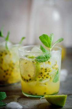 Passionfruit & Ginger Cocktail - Light Rum, Soda Water, Ginger Passion Fruit Syrup (Recipe), Mint, Lemon Slices.http://pinterest.com/pin/259168153530888673/