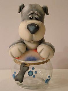não foi eu quem fiz mas amei...Cute doggie jar