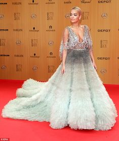 Princess moment:Rita Ora, 24, ditched the glitz and glam of the judging panel for a moment as she attended the 67th annual Bambi awards in Berlin, Germany on Thursday evening