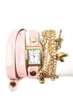 la mer - women\'s crystal ballerina chain wrap watch (ballet slipper pink) - La Mer | 80\'s Purple