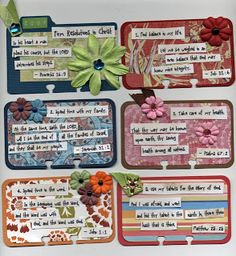 Rolodex scripture cards -atc cards- great to exchange among youth group, sisters, friends, strangers, etc. Scripture Crafts, Bible Art, Atc Cards, Journal Cards, Junk Journal, Kunstjournal Inspiration, Character Inspiration, Art Trading Cards, Rolodex