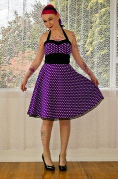 1950's Style Michelle Purple Polka Dot Dress with by PixiePocket, $130.00