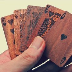 Wooden deck of cards.