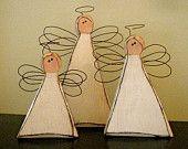 Chunky Carved Wood Angel Trio