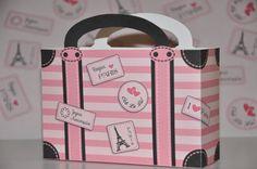 Paris Party Suitcase Favor box - soft pink pdf printable Pink Poodle in Paris theme party favor box Paris Themed Birthday Party, Paris Party, Birthday Party Themes, Birthday Ideas, Travel Stamp, Party World, Pink Poodle, Favor Boxes, Gift Tags