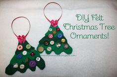 Mommy Made: DIY Felt Christmas Tree Ornaments! #christmas #crafts #DIY #easy #felt #cute #buttons
