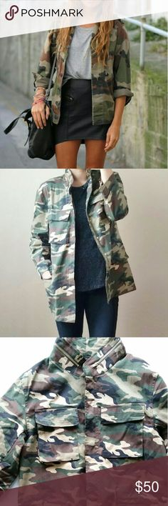 "Camo Military/Utility Jacket Camouflage Military/Utility Jacket  *Camouflage patterns  *Four functional pockets/ zipper detail on collar  *Polyester/ Hand wash *Runs true to size / Oversized / Loose fit  *Size Medium  /Pit to pit : 19.5"" flat /Length : 29"" *Size Large /Pit to pit : 20.5"" flat / Length : 29"" *Size XL  /Pit to pit : 21.5"" flat / Length : 29"" *New boutique item  *No trade Please  *****Covershot is for your outfit inspiration. Not actual product. I am modeling actual product…"