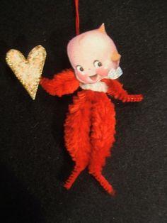Set of 2 vintage handmade chenille cupie/kewpie doll holiday/valentine ornaments