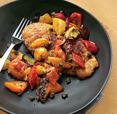 Chicken Cutlets with Bell Pepper Ragout