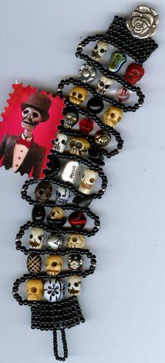 Handwoven Skull and Beads Bracelet by jansbeads on Etsy, $77.00