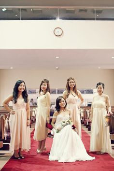 the blush and yellow draped dress for the bridesmaids !