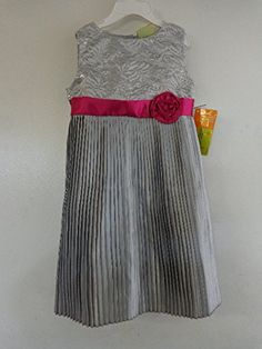1d0ac7f462a Amazon.com  Girl s Dress Special Occasion Party Easter Silver Grey Pink  Trim 4  amp