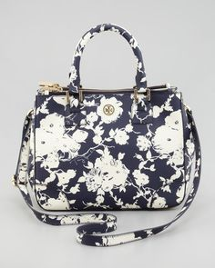 Tory Burch Small Doublezip Floralprint Tote Bag in Black