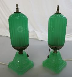 shopgoodwill.com: Pair of Vintage Green Skyscraper Art Deco Lamps