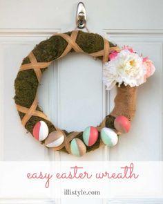 Easy Easter Wreath tutorial! Fun Easter decoration idea!