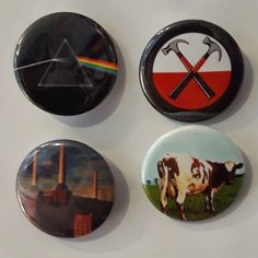 Set of 4 Button Badges. Size: 25 cm (1 inch). Button Badge, Pink Floyd, Badges, Arcade, Coasters, Buttons, Badge, Coaster Set, Knots