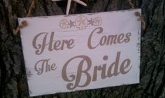 Here Come The Bride Beach Wedding Sign Brown by RomanticPlanet