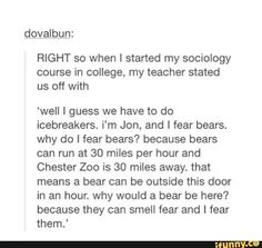 Not true- they're short distance sprinters. Funny though-----Pinning this just because I think it's hilarious how he sounds just like Dwight Schrute. Except for the allowing the bear to smell his fear. Even read it in his voice xD. Funny Pins, Stupid Funny Memes, Funny Tweets, Funny Cute, Really Funny, That's Hilarious, Collateral Beauty, All Meme, Haha