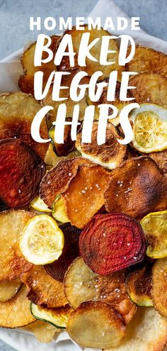 These Crispy Baked Vegetable Chips come together with just a few ingredients, and are the perfect crunchy snack for lunch boxes or movie nights. #bakedchips #homemadechips #bakedveggiechips #veggies #vegan #glutenfree #paleo #wholefully Lunch Snacks, Healthy Movie Snacks, Healthy Vegan Snacks, Clean Eating Snacks, Healthy Recipes, Keto Snacks, Work Lunches, Paleo Vegan, Yummy Recipes