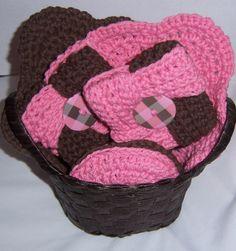 Crochet 2 Washcloths/5 coasters/2 Tawashi/1 basket*~Pink & Brown