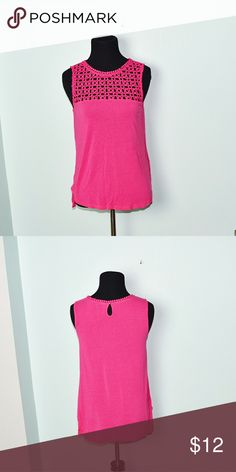 Gorgeous Hot Pink Crochet Neckline Blouse In excellent condition! Very comfortable, lightweight, and stretchy! Buy 3 items and get 1 free plus 15% off your purchase total! Tops Blouses