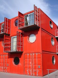 container housing by graphic_d, via Flickr I love that the doors are the balcony  privacy ....brilliant !