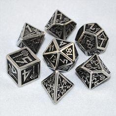 Metal Dwarven Dice (Set of 7) - RPG Tabletop Board Games