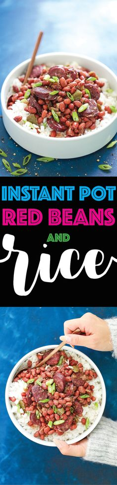Instant Pot Red Beans and Rice - Thanks to the pressure cooker, everyone's favorite New Orleans dish can be made in no time! No need to presoak the beans either. Simply throw everything into the Instant Pot and let it do the work for you. SO EASY!