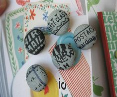 Handmade Small Retro Blue Black Postal Airmail Stamp Vacation Script Typo Fabric Covered Buttons Fridge Magnets, Flat Backs, 1 Inch Fabric Covered Button, Covered Buttons, North And South America, National Holidays, Airmail, Typo, Script, Magnets, Stamp