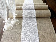 Burlap table runner wedding table runner with by HotCocoaDesign, $21.00
