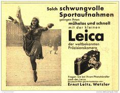 Original-Werbung/Inserat/ Anzeige 1933 - LEICA KAMERA / LEITZ WETZLAR / MOTIV EISKUNSTLAUF - ca. 140 x 110 mm