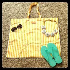 Great Yellow White Striped Beach Bag Shopper Tote NEW