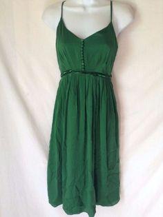 HH HHH Hilfiger Emerald Green Silk Dress Babydoll Size 2 Cocktail | eBay