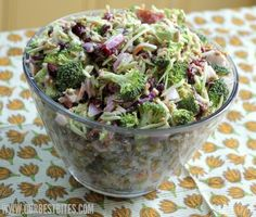 Broccoli Salad from Our Best Bites - really good except i used almond slices and added a little bit of brown sugar in place of some of the white sugar and didn't do the bacon