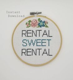 This listing is a Counted Cross Stitch Instant PDF Download of Rental Sweet Rental. Please note this is a PDF pattern only. Fabric, floss, or other materials are NOT included in this listing. The finished cross stitch is for demonstration purposes only. -PDF Pattern Includes: • Cover