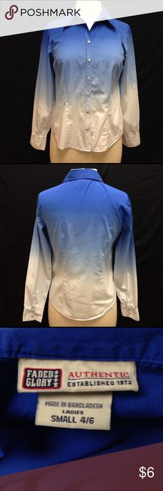Faded Glory Ombré Style ladies Button Down Top Bust 37 Length 21.5 Arm length from pit 17.5. This shirt is excellent condition. It no rips stains or tears. Perfect for a Western wear look! Looks to be a bit big for a small so may fit a medium as well. Faded Glory Tops Button Down Shirts